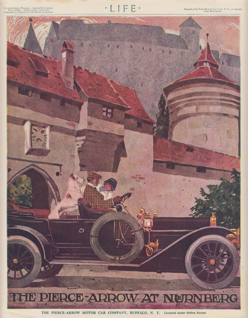 The Pierce-Arrow Touring Car at Nurnberg Germany ad 1910 couple and saluki