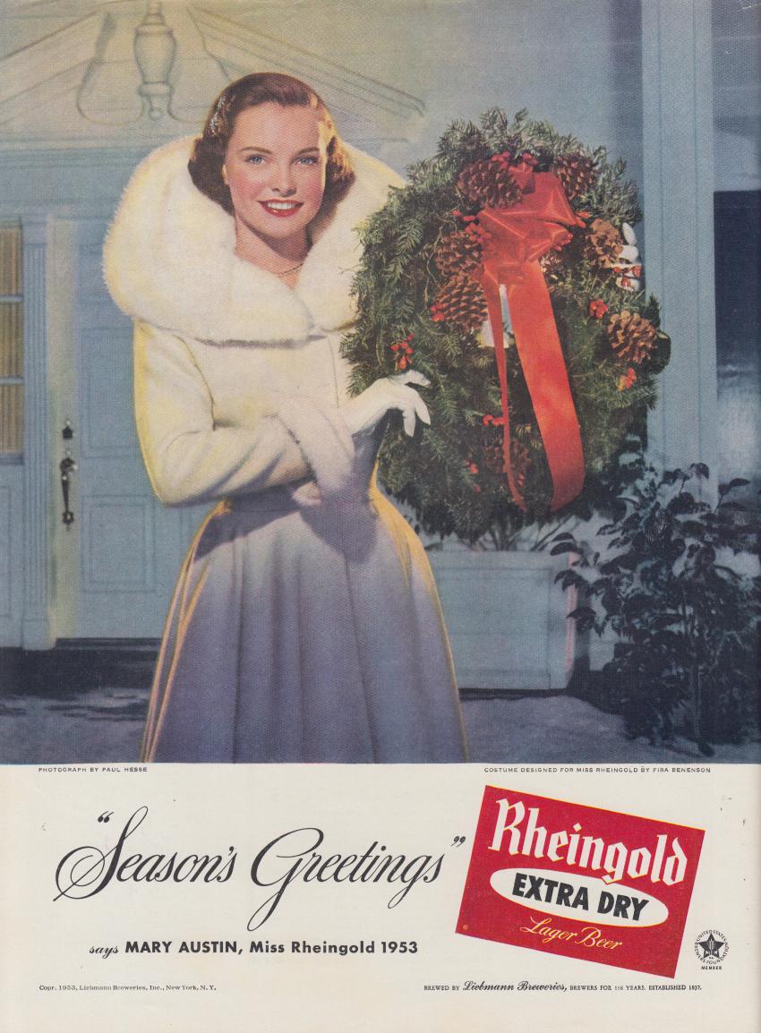 Miss Rheingold Beer Mary Austin ad 1953 fur coat & Christmas wreath