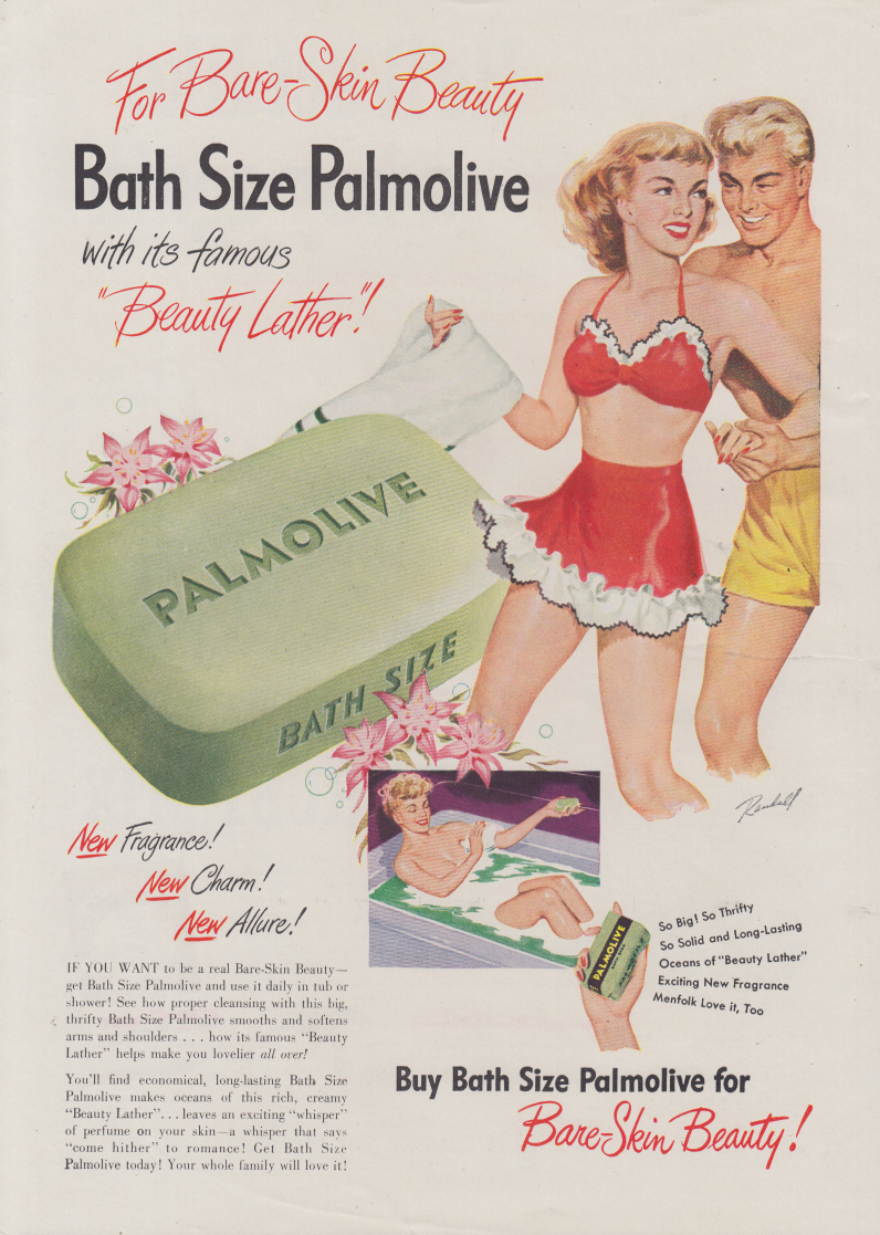 For Bare-Skin Beauty Palmolive Soap ad 1949 Randall swimsuit pin-up