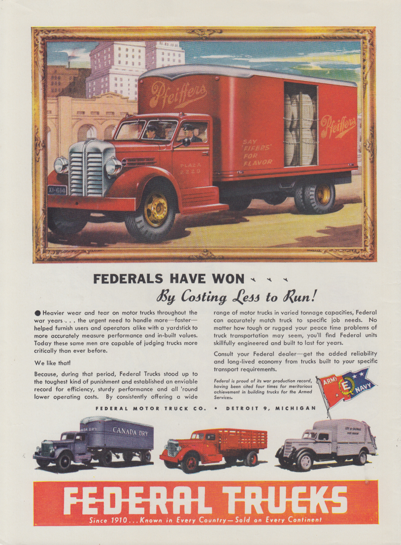 A E Trucking Coal Semi - Federal Trucks ad 1947