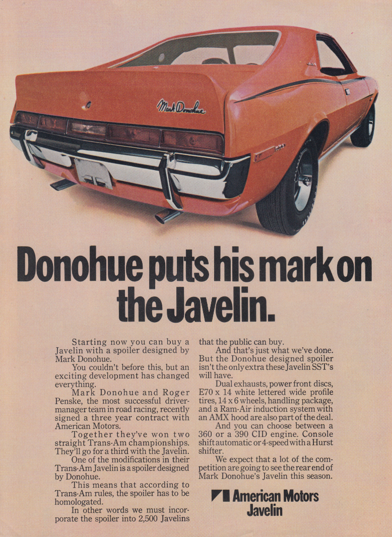 Mark Donohue puts his mark on the AMC Javelin ad 1970