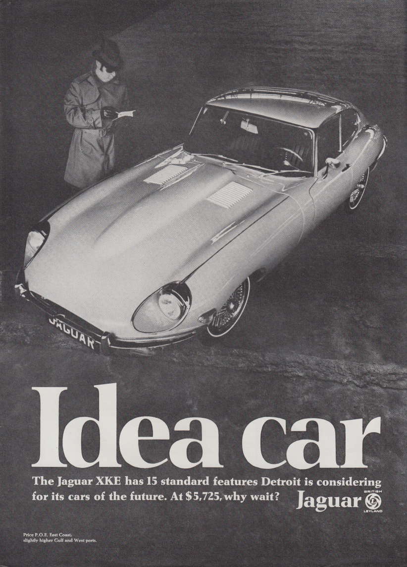 15 standard features Detroit is considering Jaguar XK-E Idea Car ad 1969