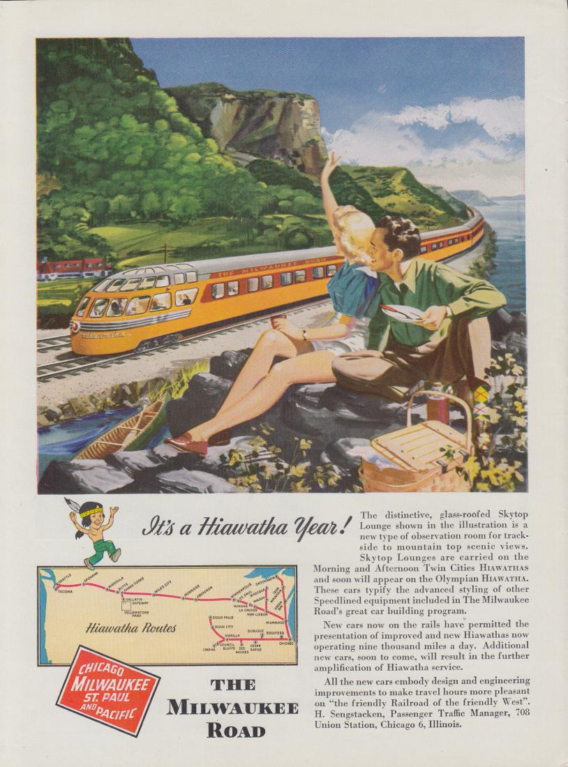 It's a Milwaukee Road Hiawatha Year railroad ad 1948 Nwk