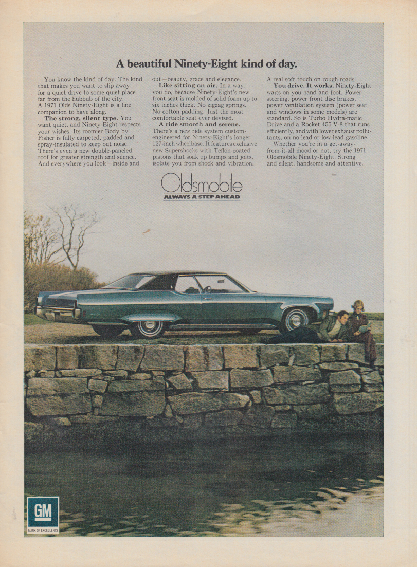 A bautiful Ninety-Eight kind of day Oldsmobile ad 1971 SI