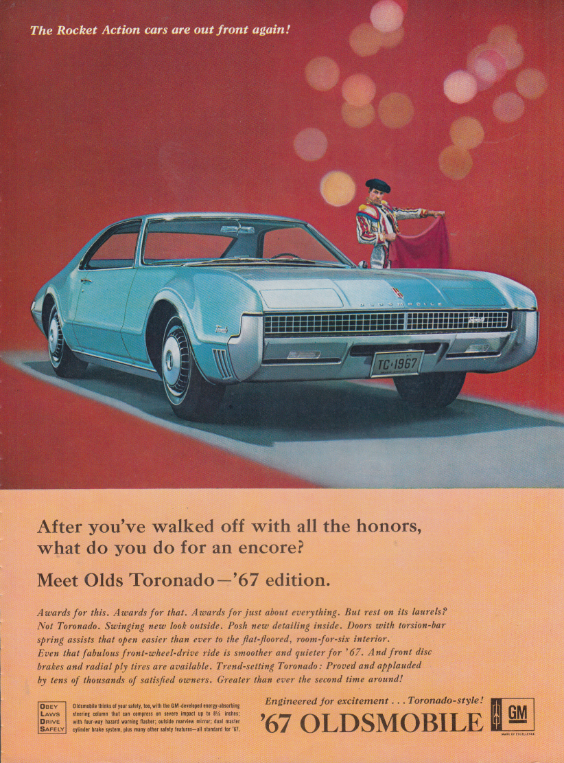 After you've walked away with all the honors Oldsmobile Toronado ad 1967