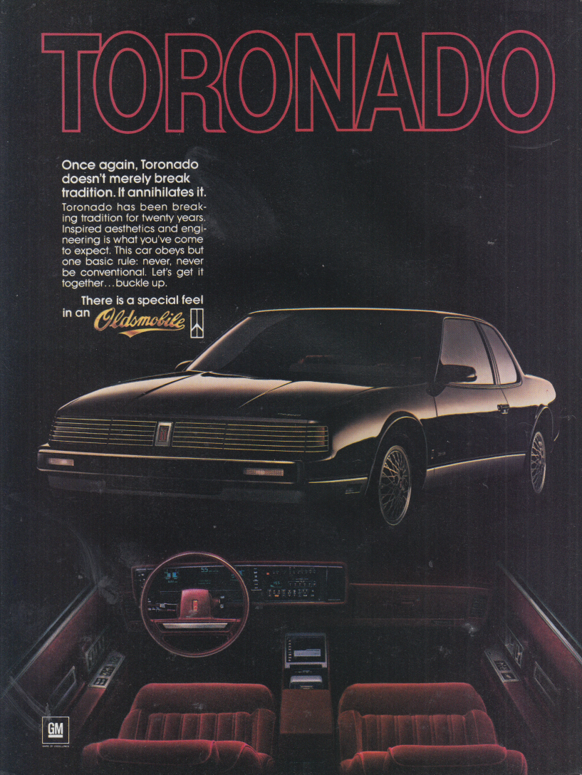 Once again it annihilates tradition Oldsmobile Toronado ad 1986