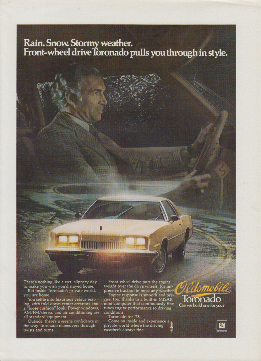 Pulls you through in style Oldsmobile Toronado ad 1978