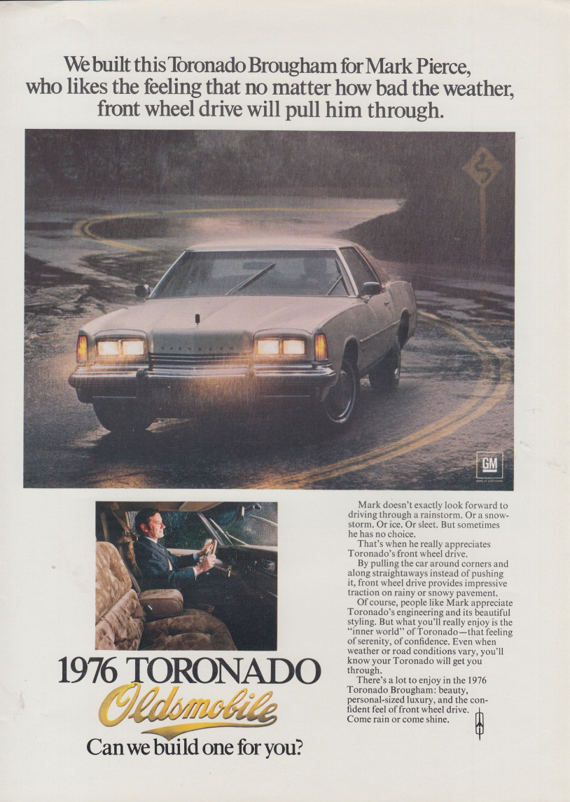We built this for Mark Pierce Oldsmobile Toronado Brougham ad 1976