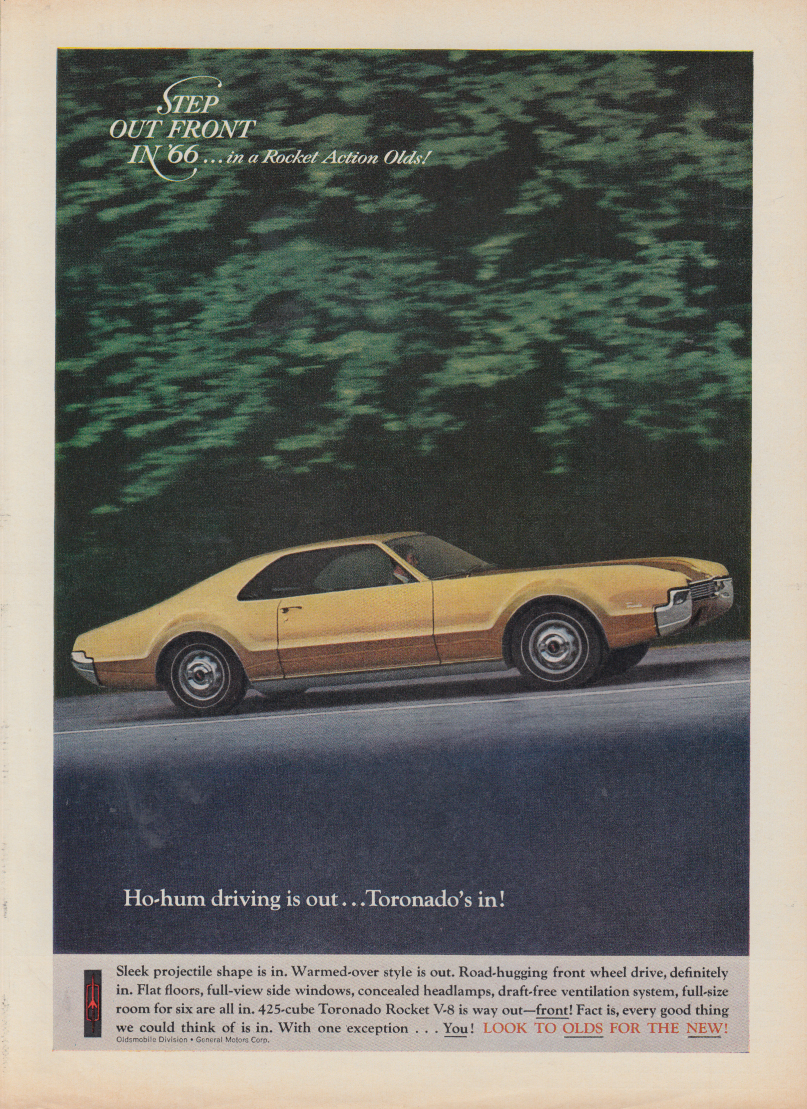 Ho-hum driving is out Oldsmobile Toronado is in! ad 1966 var