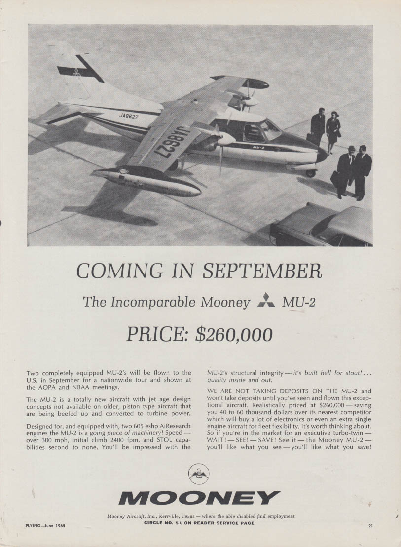 Coming in September the Incomparable Mooney MU-2 ad 1965
