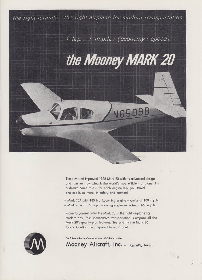 1 HP = 1 MPH The Mooney Mark 20 light plane ad 1958