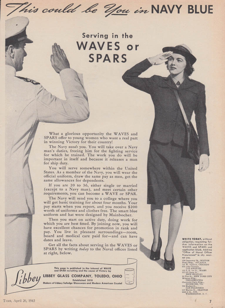 This could be you in Navy Blue -Serving the WAVES or SPARS Libbey Glass ad 1943