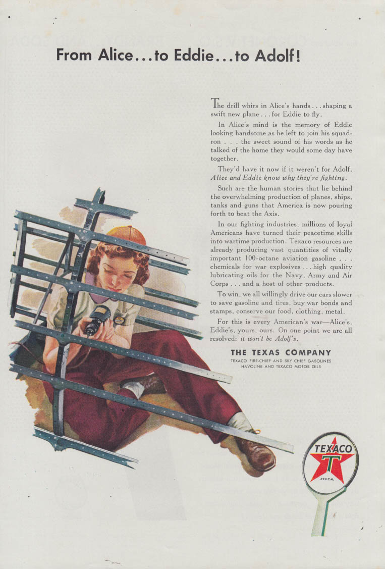 From Alice to Eddie to Adolf! Rosie the Riveter type Texaco ad 1943