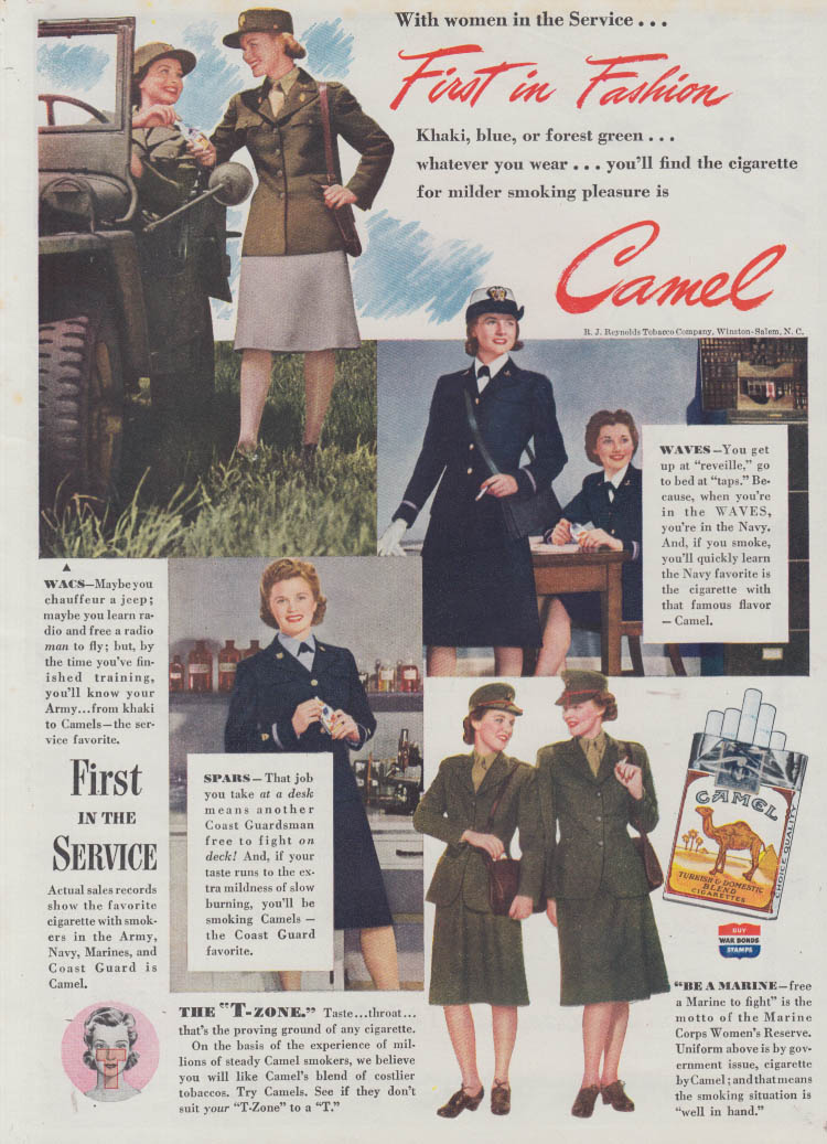 1st in Fashion WAAC WAAF WAVE Marine Women's Reserve for Camel Cigarette ad 1943
