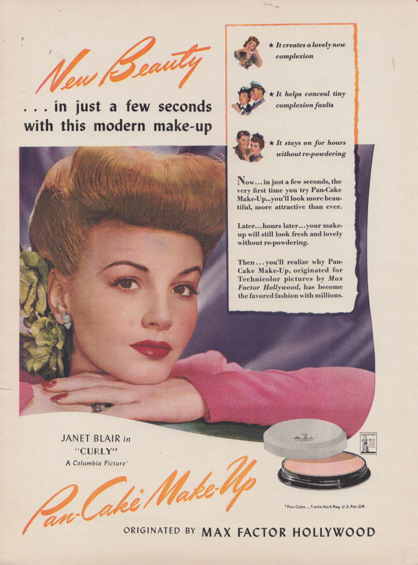 Serve the US Cadet Nurse Corps / Janet Blair for Max Factor Make-up ad 1944