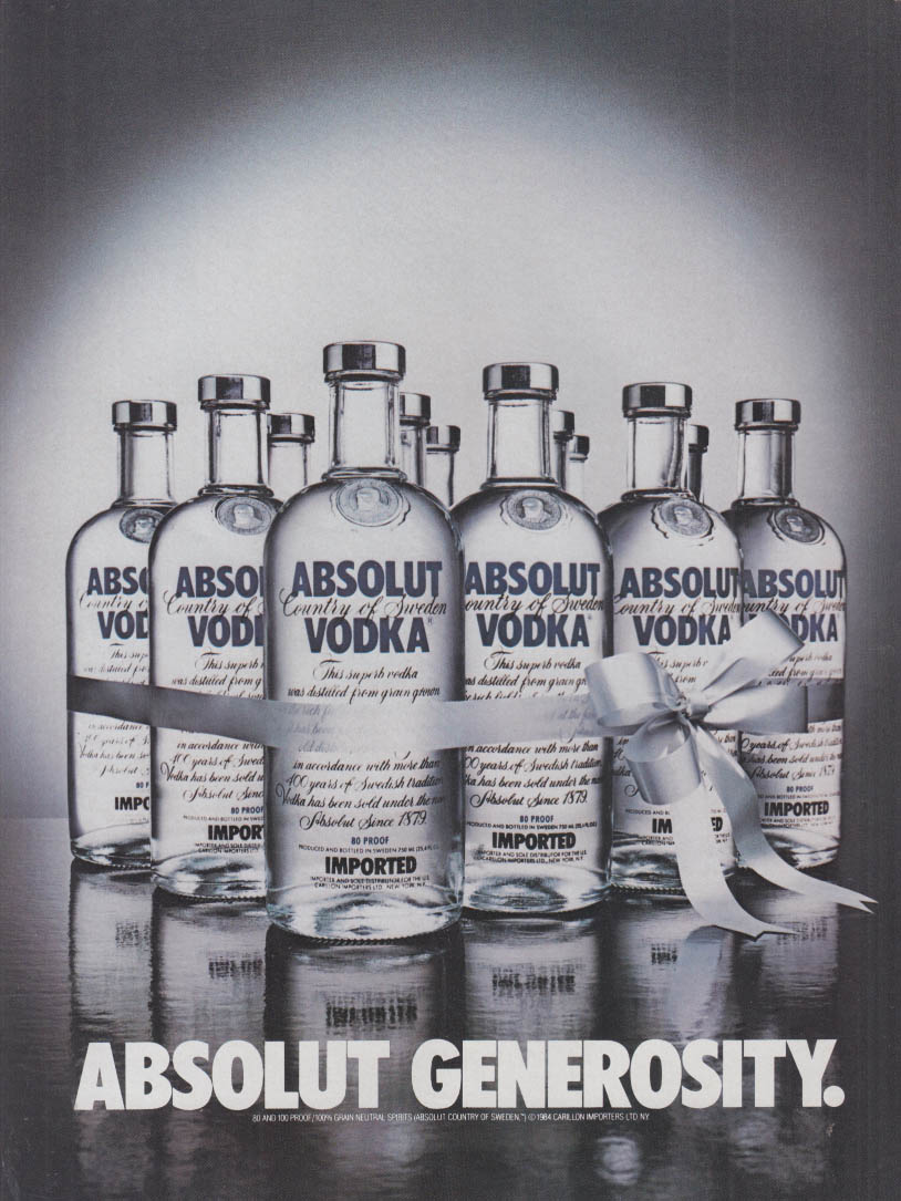 Absolut Generosity ad 1984 Absolut Vodka