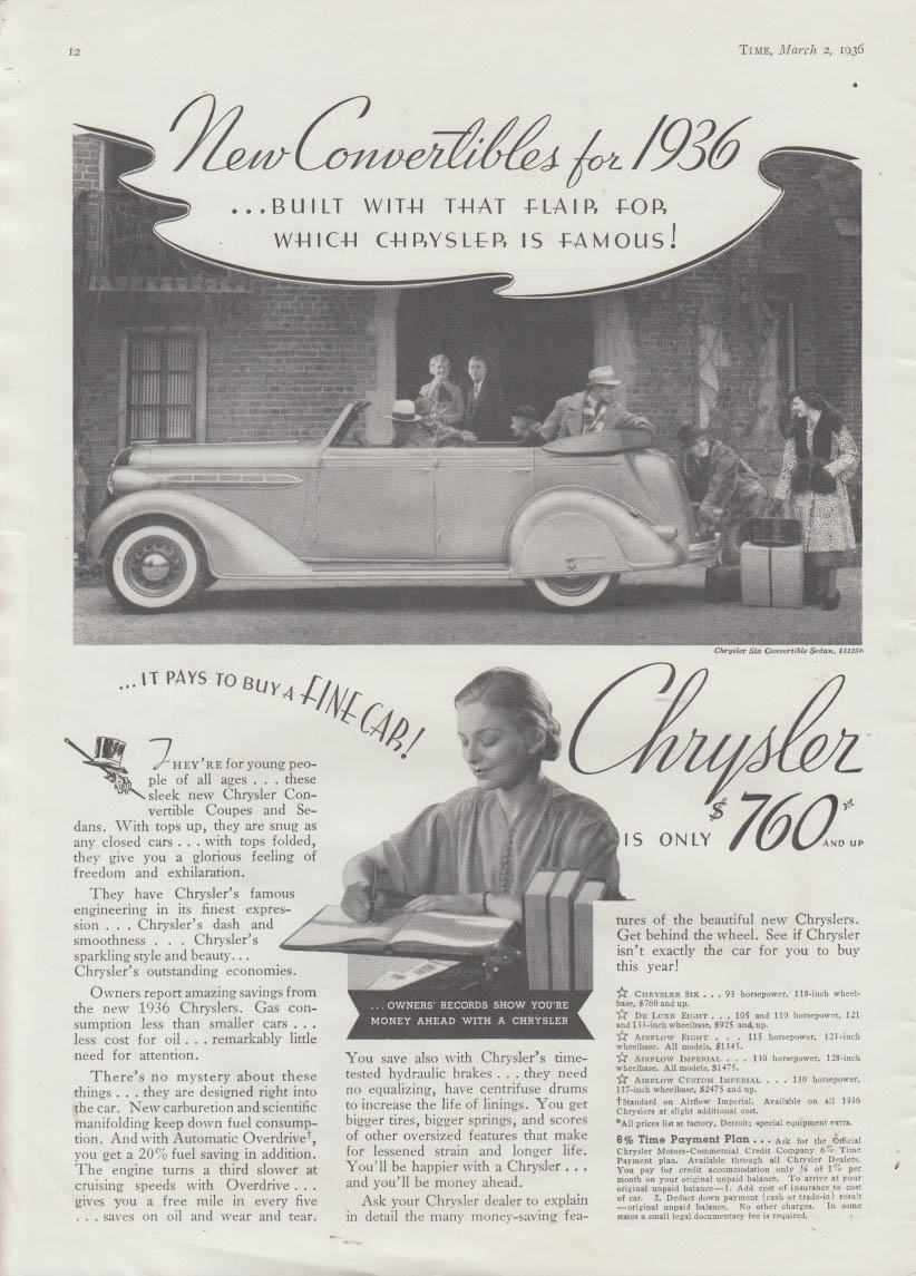 New Convertibles - Chrysler Six Convertible Sedan ad 1936 T