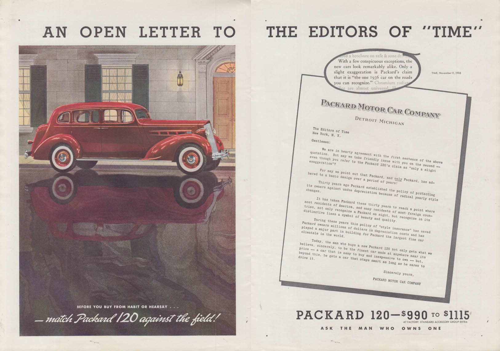 Open Letter to Editors of Time Packard 120 / Studebaker COE truck ad 1936