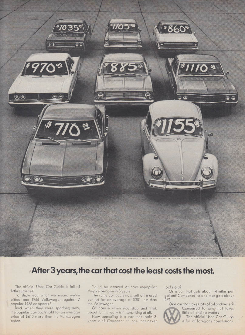 After 3 years the car that costs the least costs the most Volkswagen ad 1969