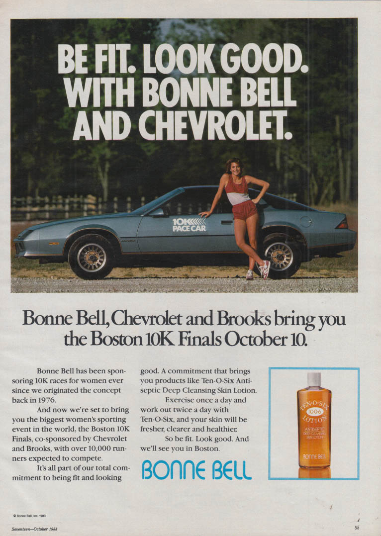 Be Fit Look Good with Bonne Bell & Chevrolet Boston 10K Camaro Pace Car ad 1983