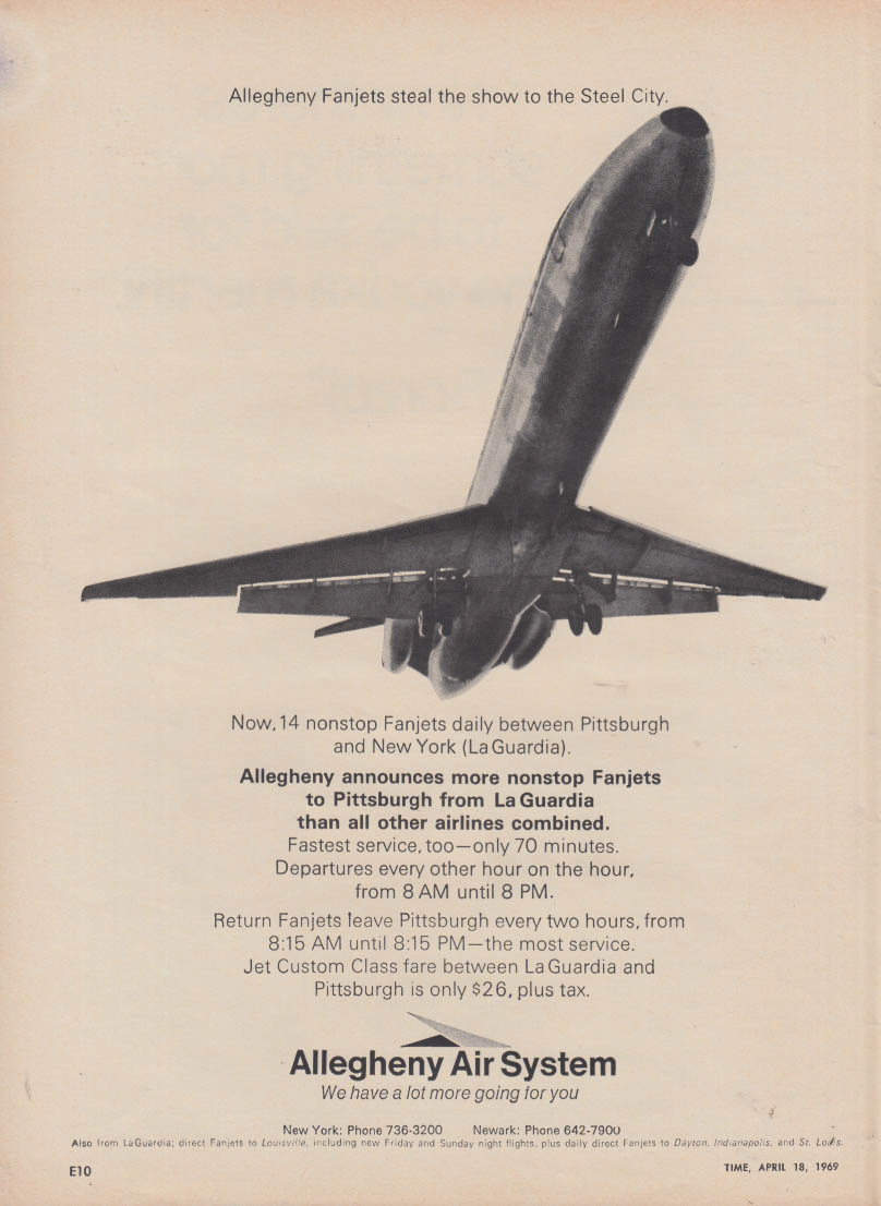 14 nonstop Fanjets Pittsburgh-LGD Allegheny Airlines ad 1969 T