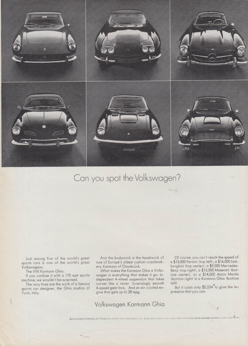 Can you spot the Volkswagen Karmann Ghia? Ad 1968 Ferrari Maserati +