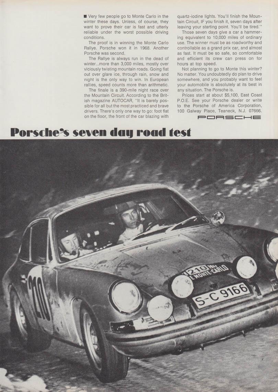 Porsche 911 seven day road test Monte Carlo Rallye ad 1968 NY