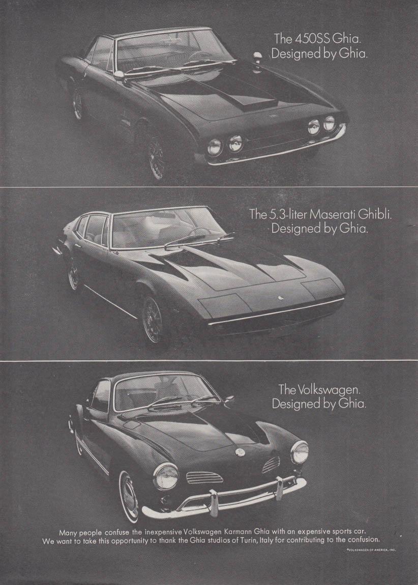 450SS Ghia, Maserati Ghibli Volkswagen Karmann Ghia ad 1968 NY
