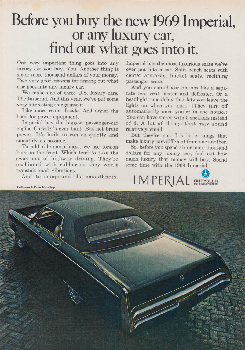 Image for Before you buy any luxury car, find out - Imperial by Chrysler ad 1969 NY