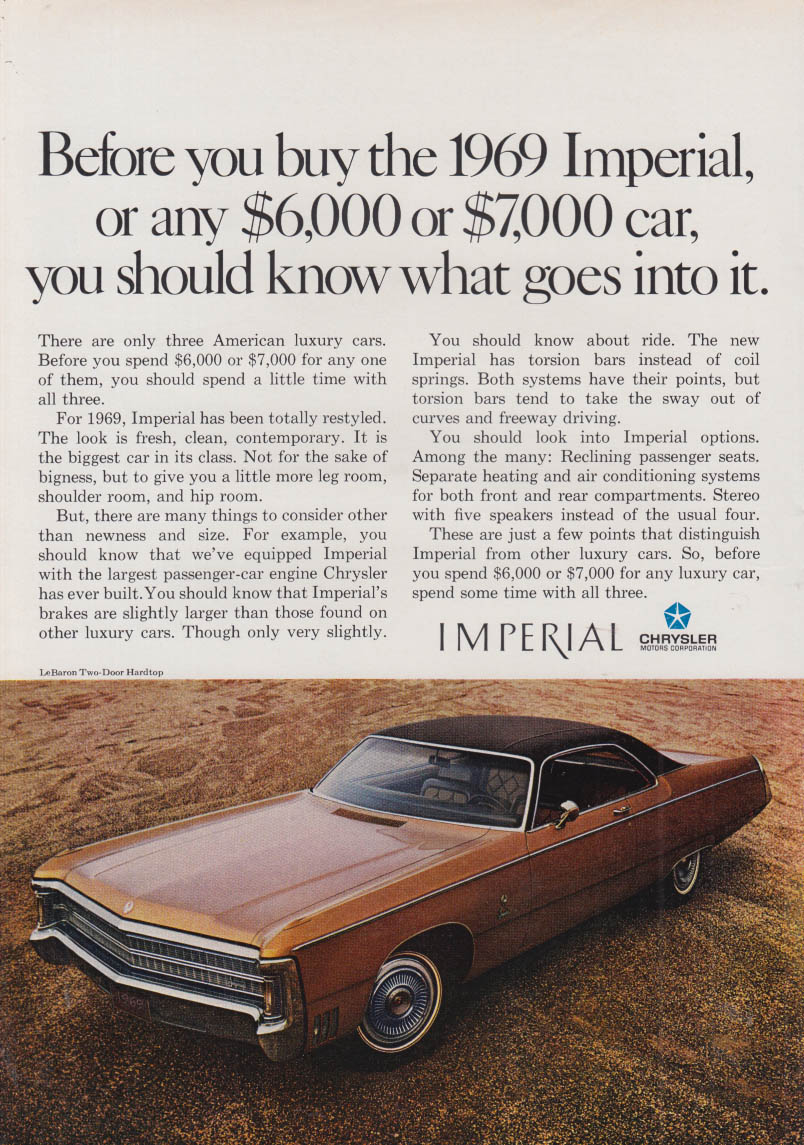 Image for Before you buy any $600 or $7000 car know - Imperial by Chrysler ad  1969 NY
