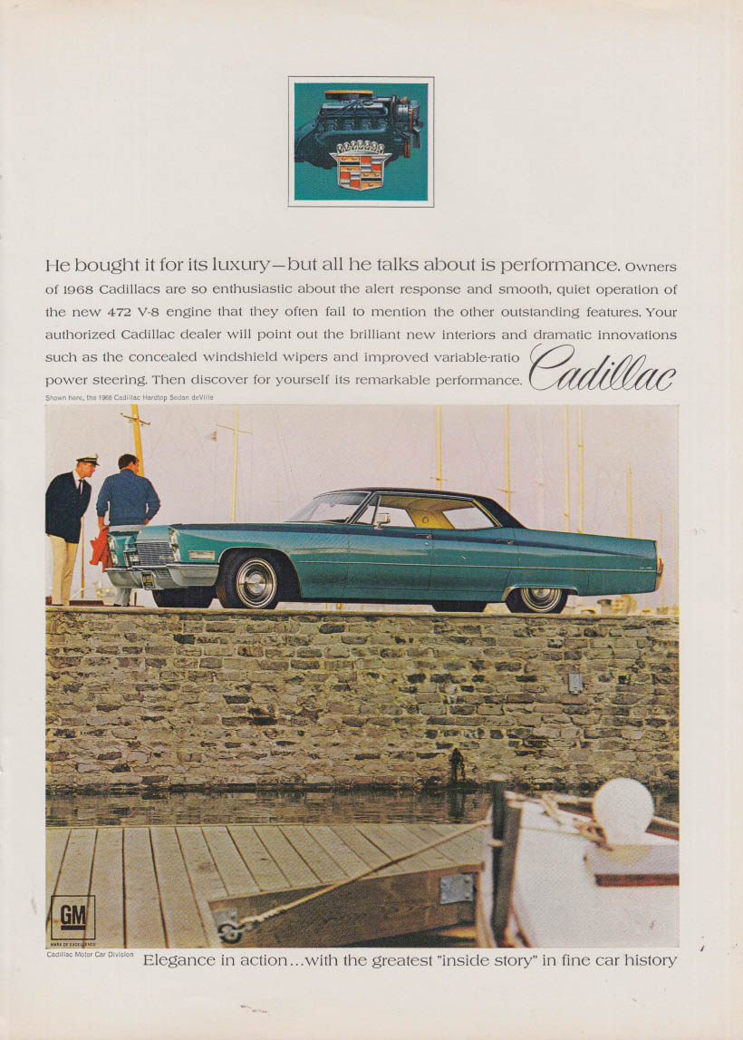 He bought for luxury but all he talks is performance Cadillac ad 1968 NY
