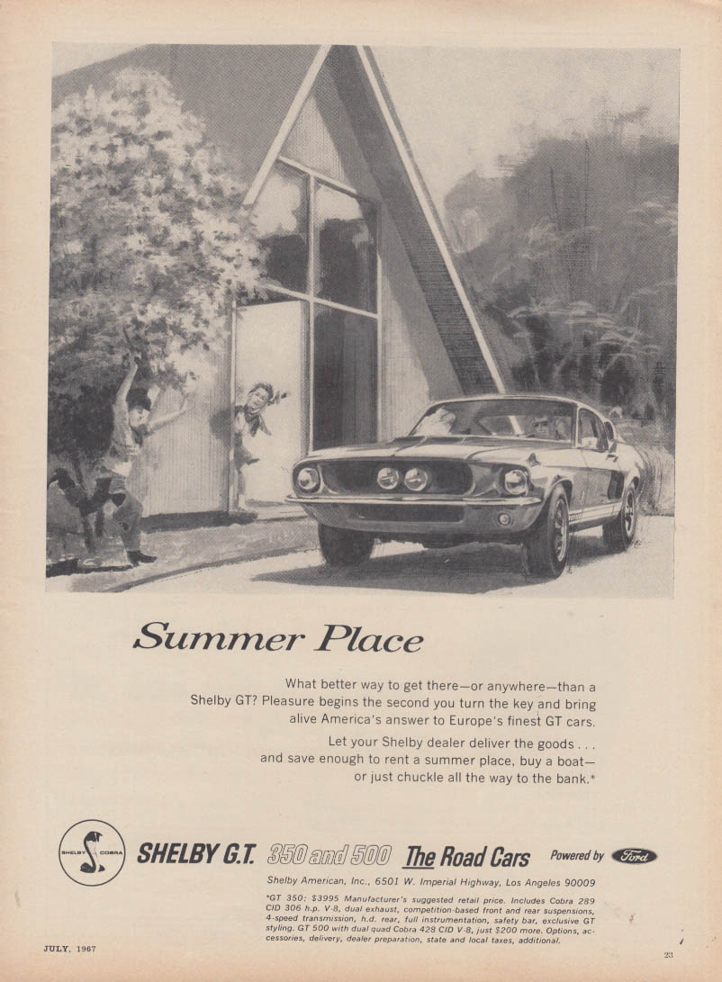 Image for Summer Place - Shelby GT 350 & GT 500 ad 1967 C&D