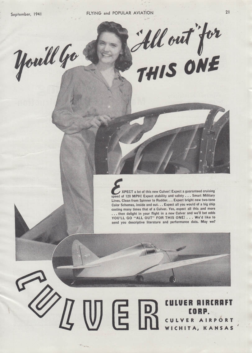 You'll go all out for this one Culver Aircraft ad 1941
