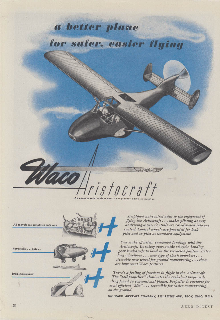 A better plane for safer easier flying Waco Artistocraft ad 1946