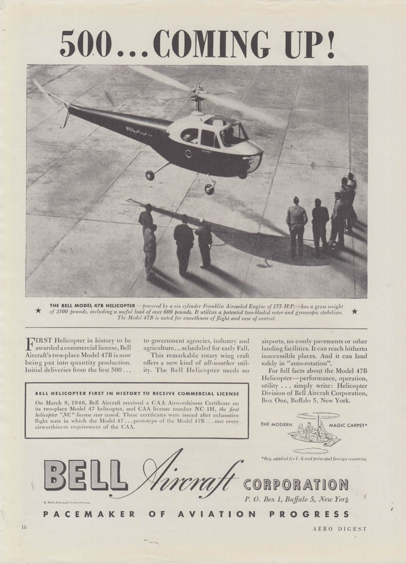 500 - Coming Up! Bell 47B Helicopter ad 1946