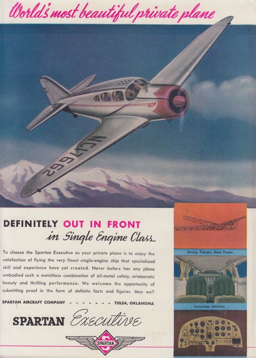 World's most beautiful private plane Spartan Executive ad 1940