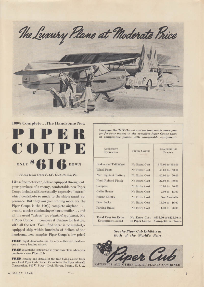 The Luxury Plane as a Moderate Price Piper Coupe ad 1940