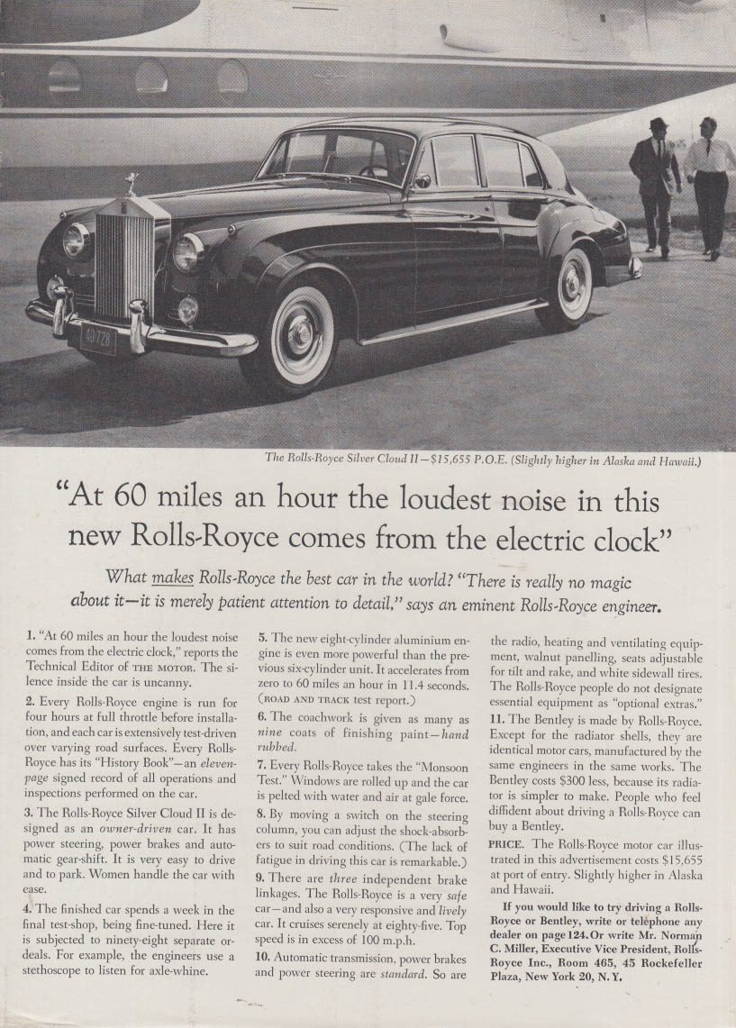 At 60 miles an hour the loudest noise comes from the clock Roll-Royce ad 1961 NY