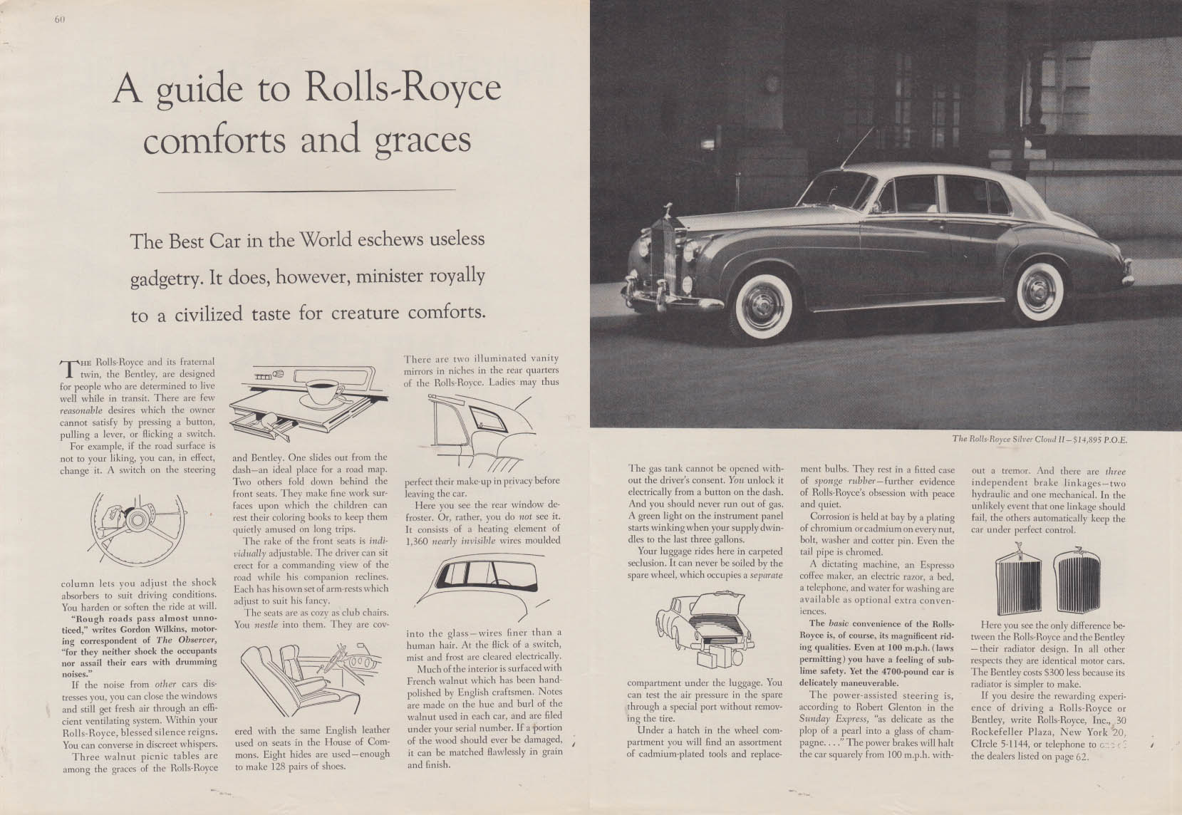 A guide to Rolls-Royce comforts & graces ad 1960 NY