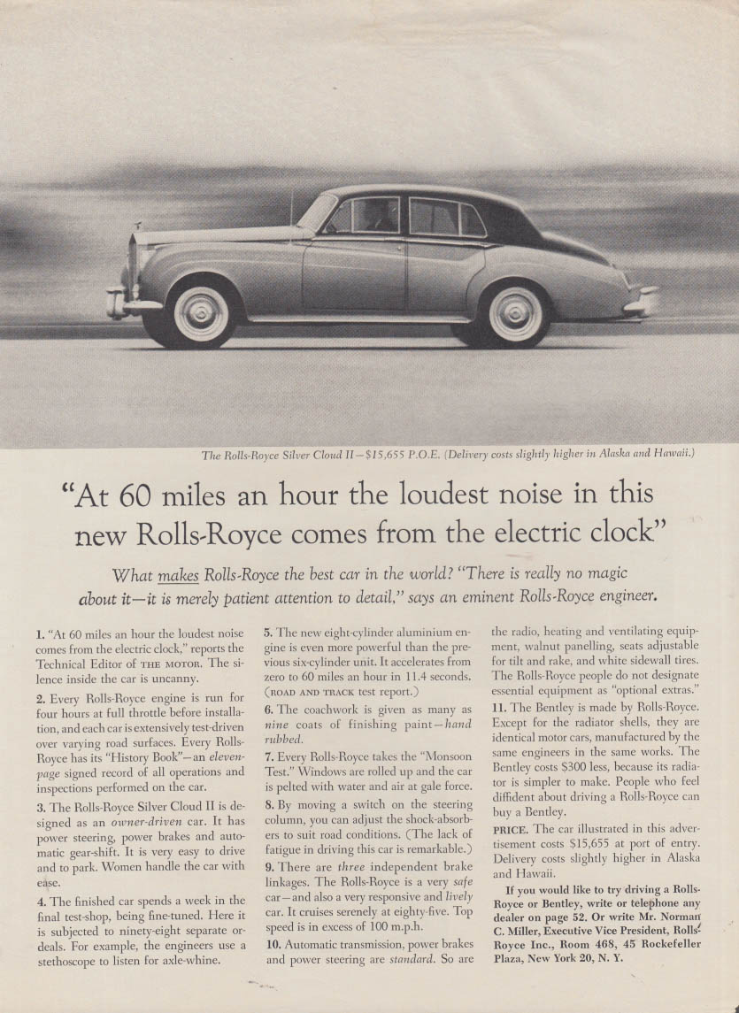 At 60 miles an hour the loudest noise comes from the clock Roll-Royce ad 1961 #2