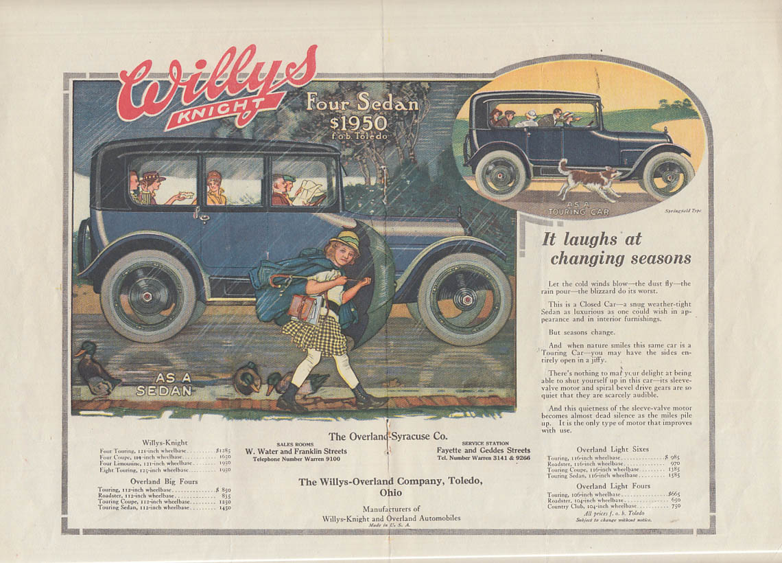 Image for It laughs at changing seasons Willys-Knight Sedan ad 1917