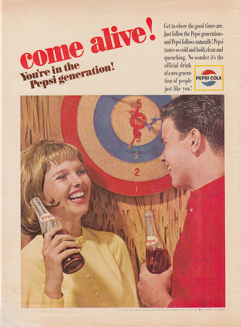 Come Alive! You're in the Pepsi Generation ad 1965 game of darts