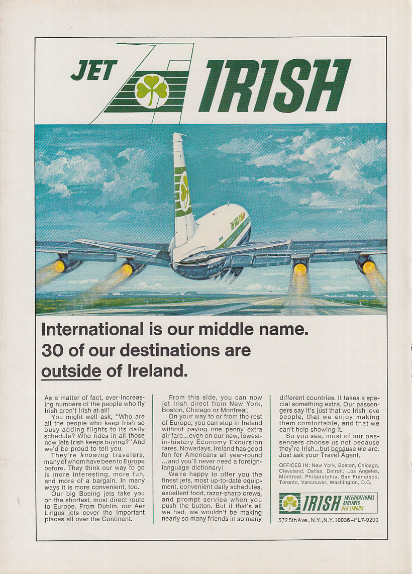 30 of our destinations are outside of Ireland - Irish Airlines DC-8 ad 1966 NY