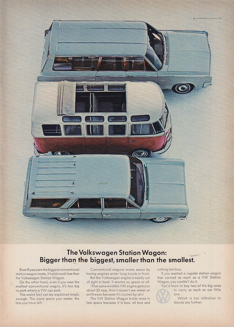 Bigger than biggest smaller than smallest Volkswagen Station wagon ad 1966 NY