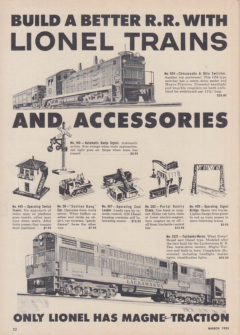 Build a Better Railroad with Lionel Trains ad 1955 Lackawanna FM diesel +
