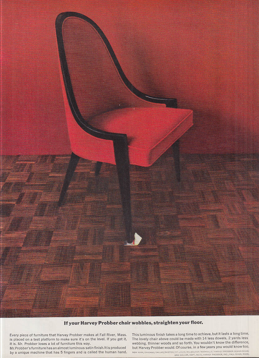 Image for If your Harvey Probber chair wobbles straighten your floor ad 1961