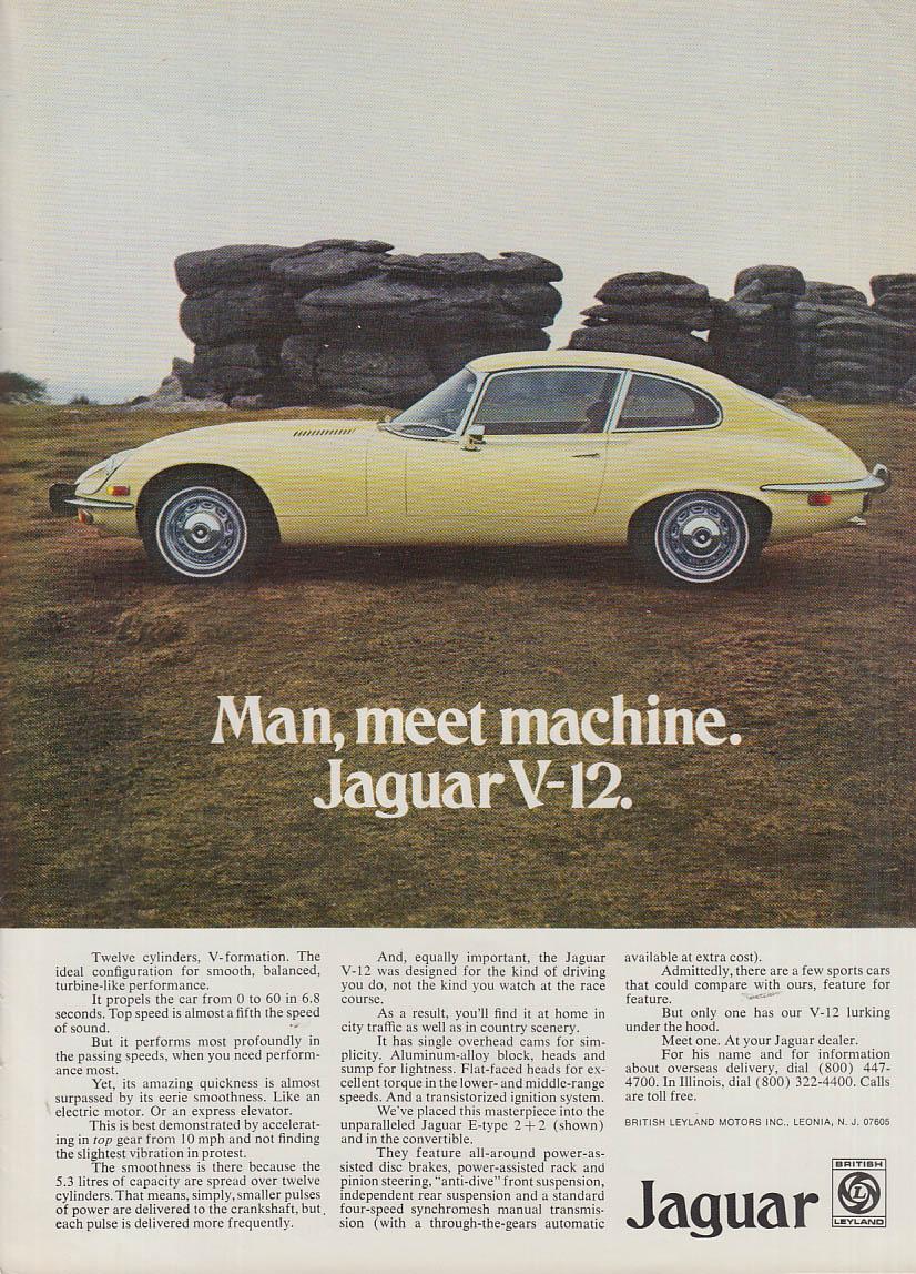 Man, meet machine - Jaguar V-12 Coupe ad 1973 NY