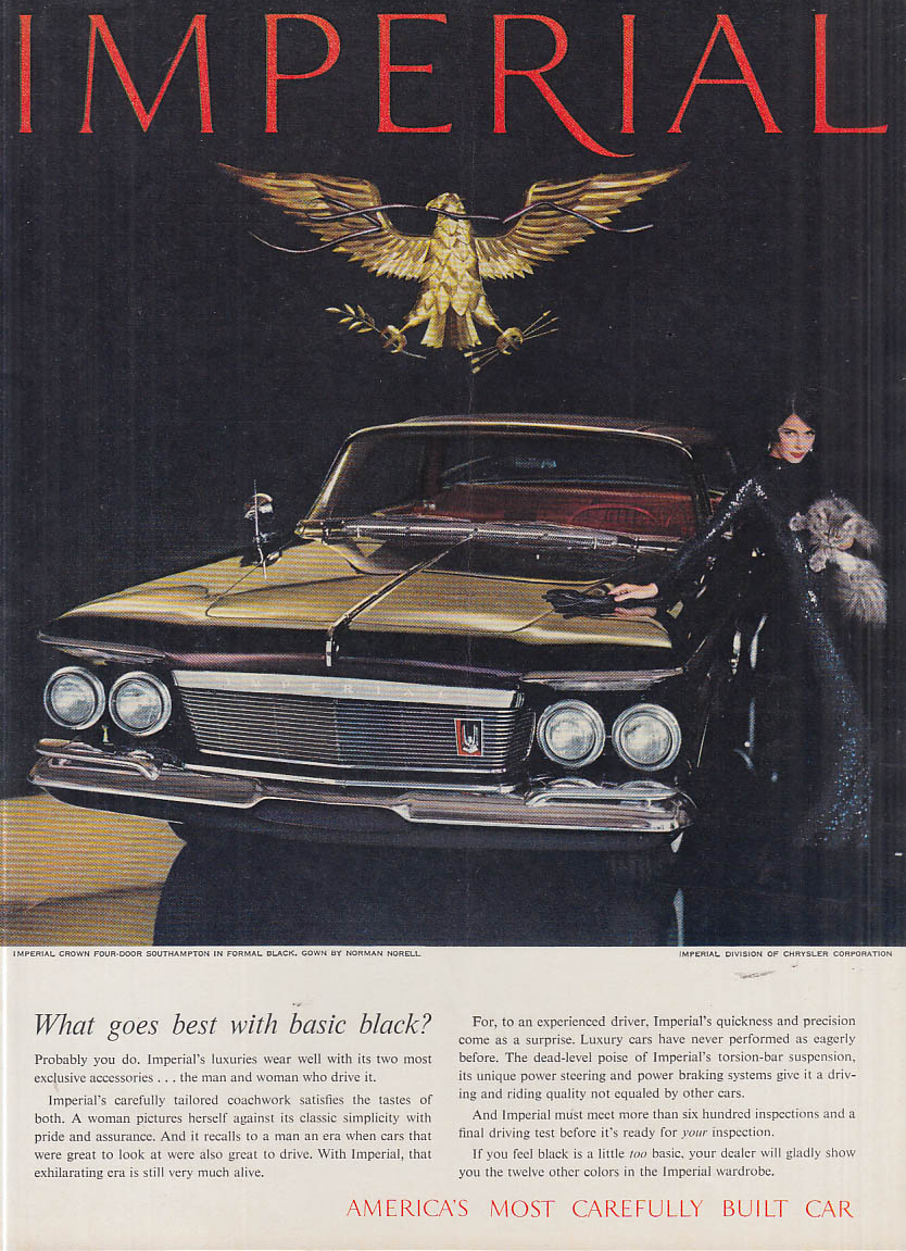 Image for What goes best with basic black? Imperial by Chrysler ad 1961 NY