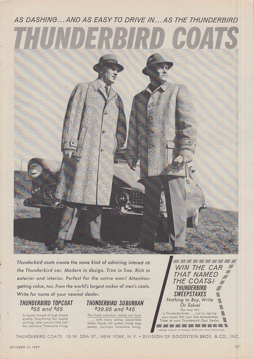 As dashing & as easy to drive in Thunderbird Coats ad 1957 1956 Thunderbird