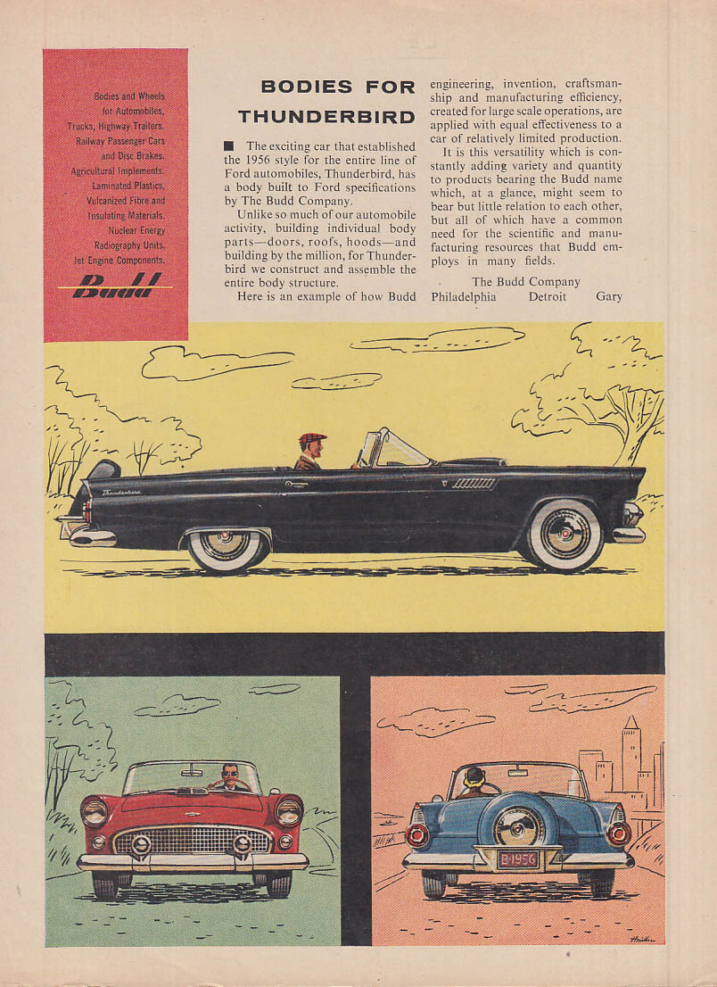 Bodies for Thunderbird by Budd ad 1956